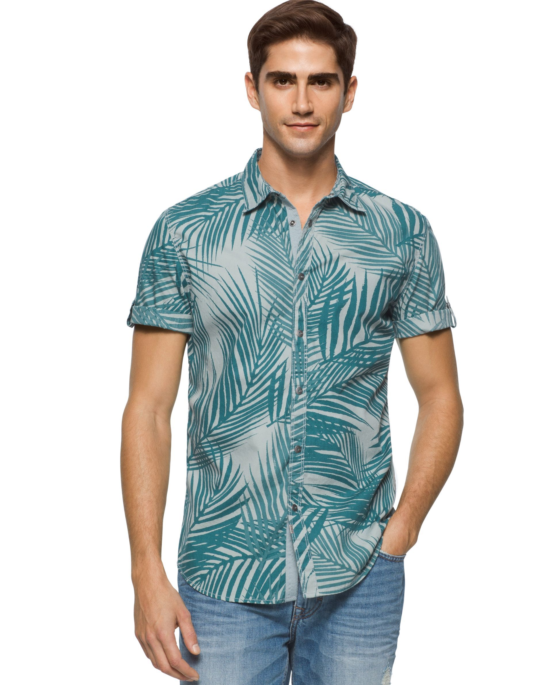 Calvin Klein Jeans Men's Silver Blue Botanical-Print Short-Sleeve Shirt