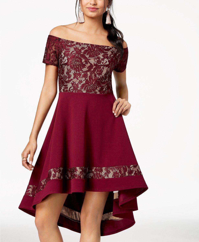 0e5ad7cca18c City Studios Juniors  Off-The-Shoulder High-Low Dress - Dresses - Juniors -  Macy s