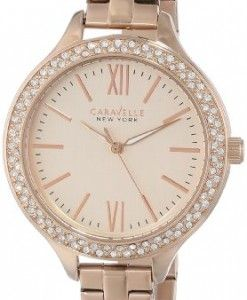 Caravelle-New-York-Womens-44L125-Analog-Display-Japanese-Quartz-Rose-Gold-Tone-Watch-0