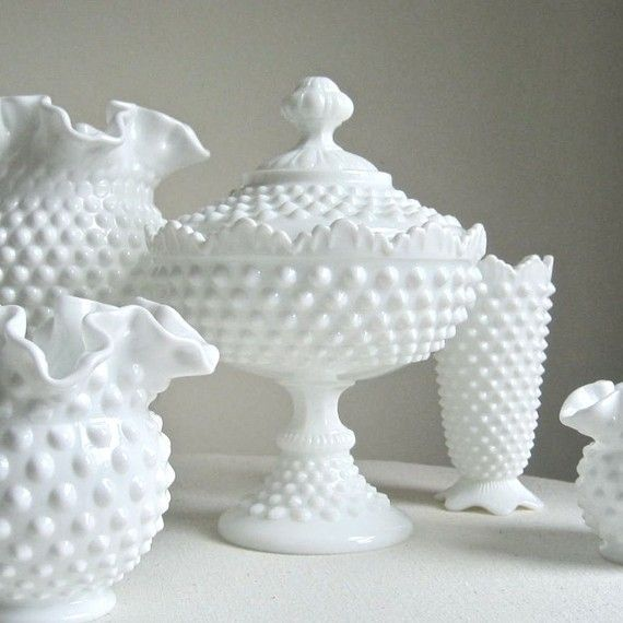 Hobnail Milk Gl Footed Candy Dish