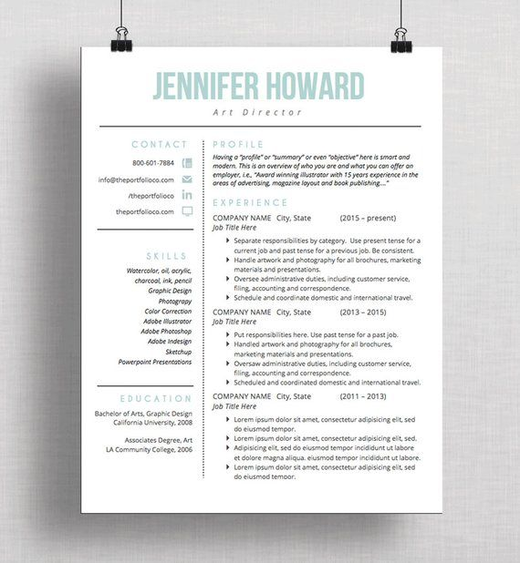 Modern Resume Template CV Template + Cover Letter Creative