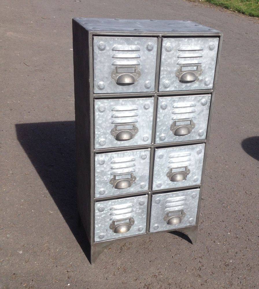 Vintage Industrial Metal Cabinet With 8 Drawers Retro Style Storage Chest