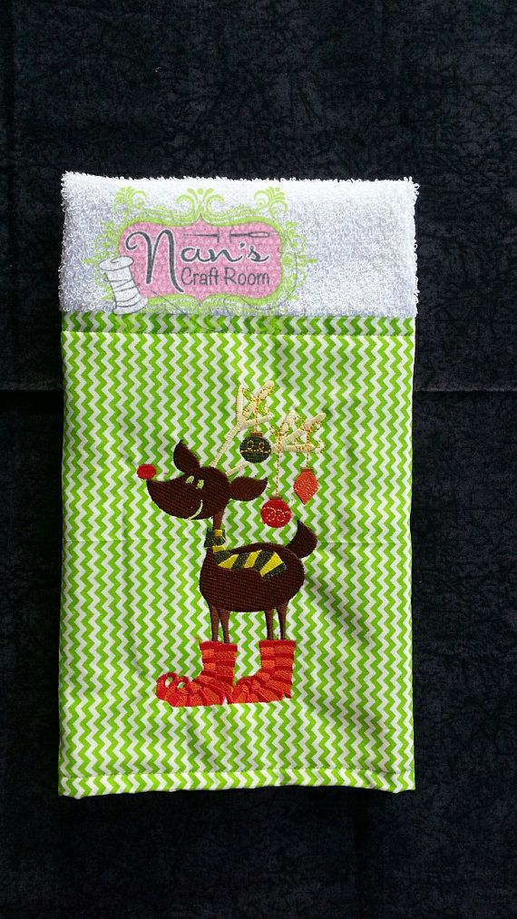 Embroidered Christmas Hand Towel by NansCraftRoom on Etsy