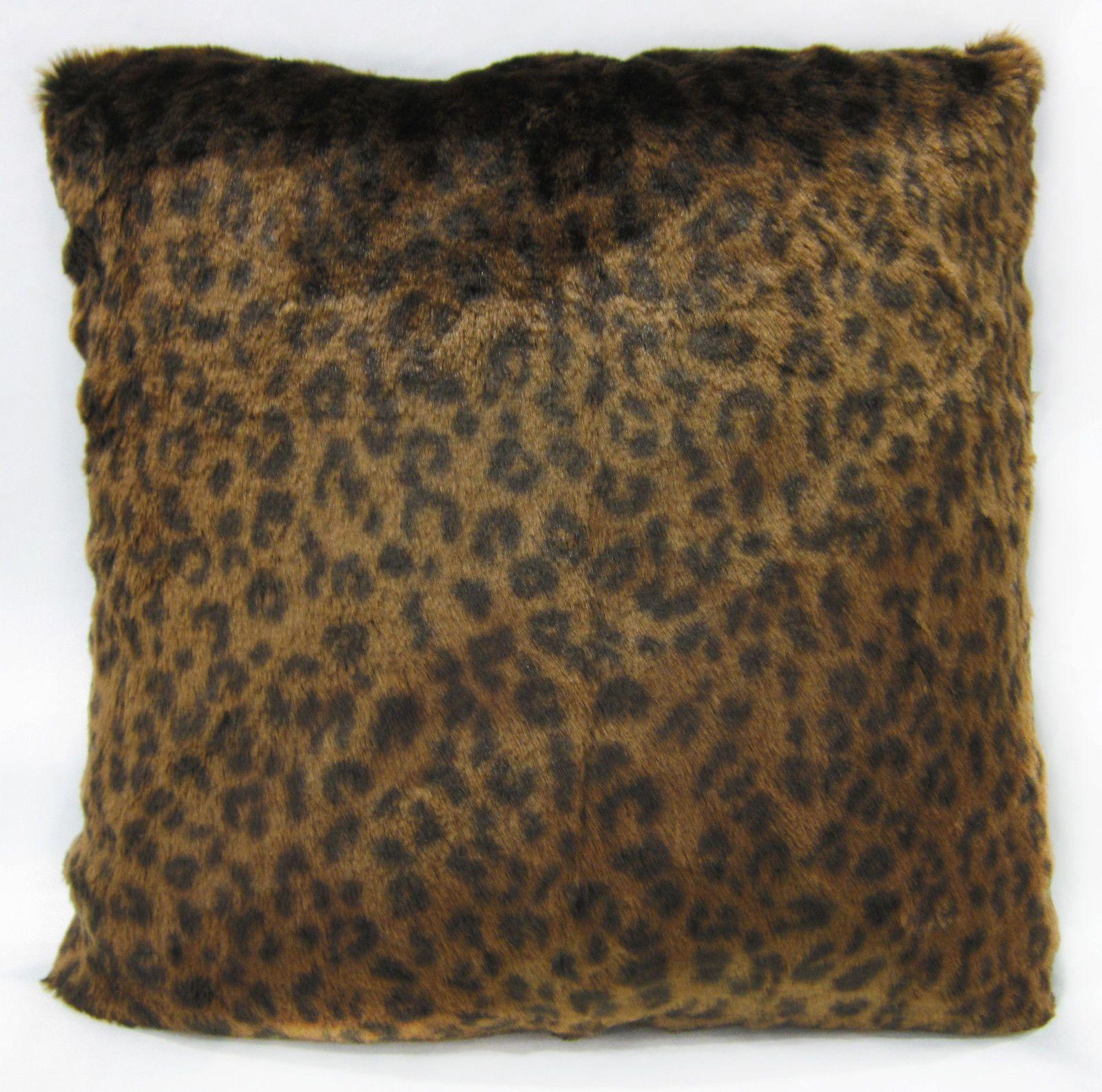 Fi18a Black Gold Brown Leopard Faux Fur Cushion Cover/Pillow Case ...