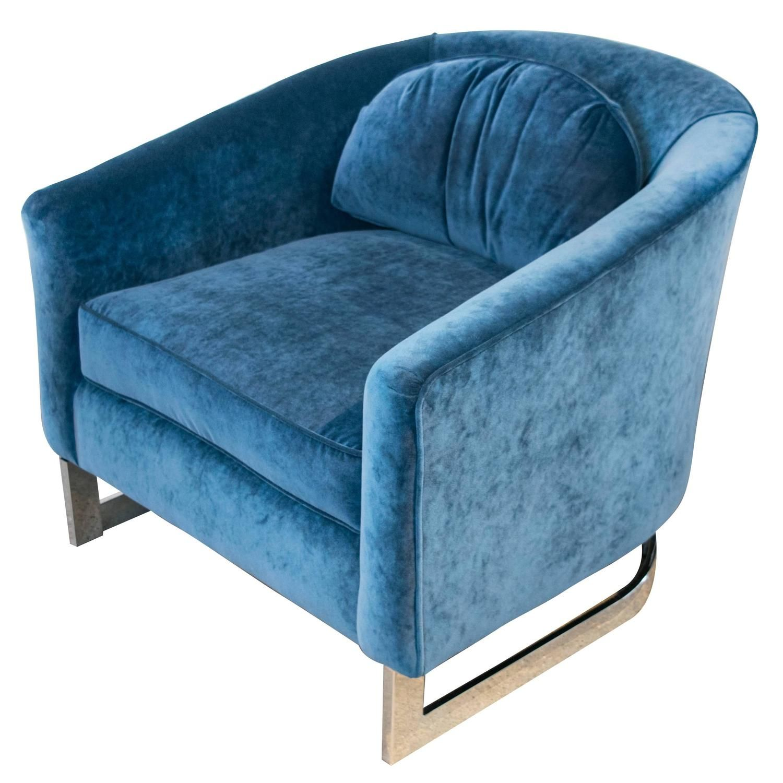 Sensational Milo Baughman Blue Velvet And Chrome Club Chair Color And Dailytribune Chair Design For Home Dailytribuneorg