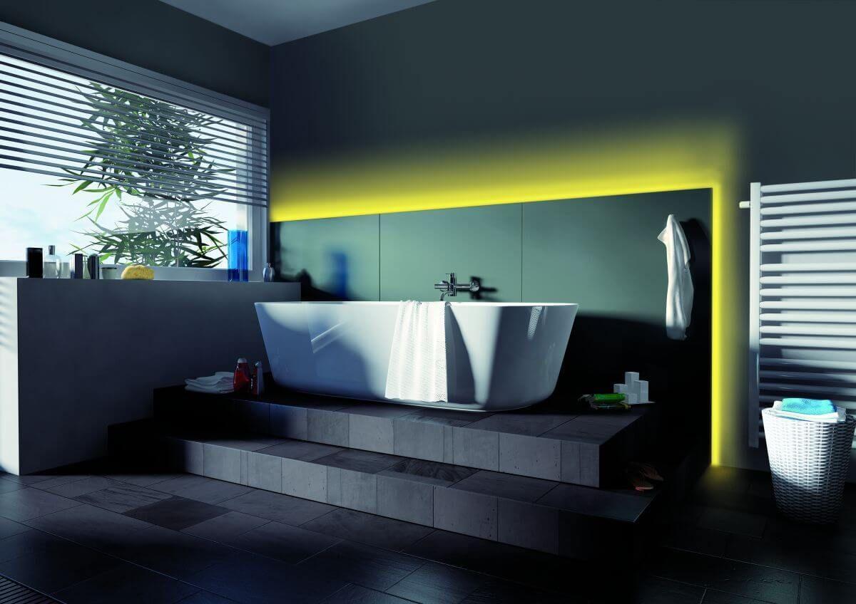 Led Streifen Im Badezimmer Highlights Mit Farbsteuerung Machen Dein Bad Zum Wellness Tempel Die Oaulmann Led S Lampen Furs Bad Led Streifen Style At Home