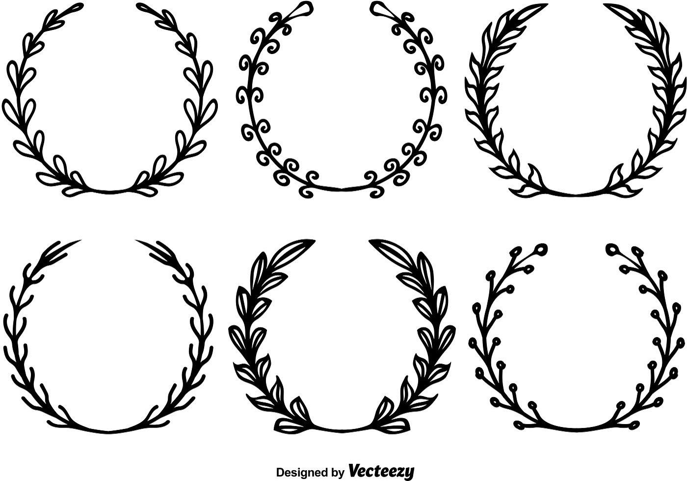 Circle Floral Borders Sketch Frames Hand Drawn On White