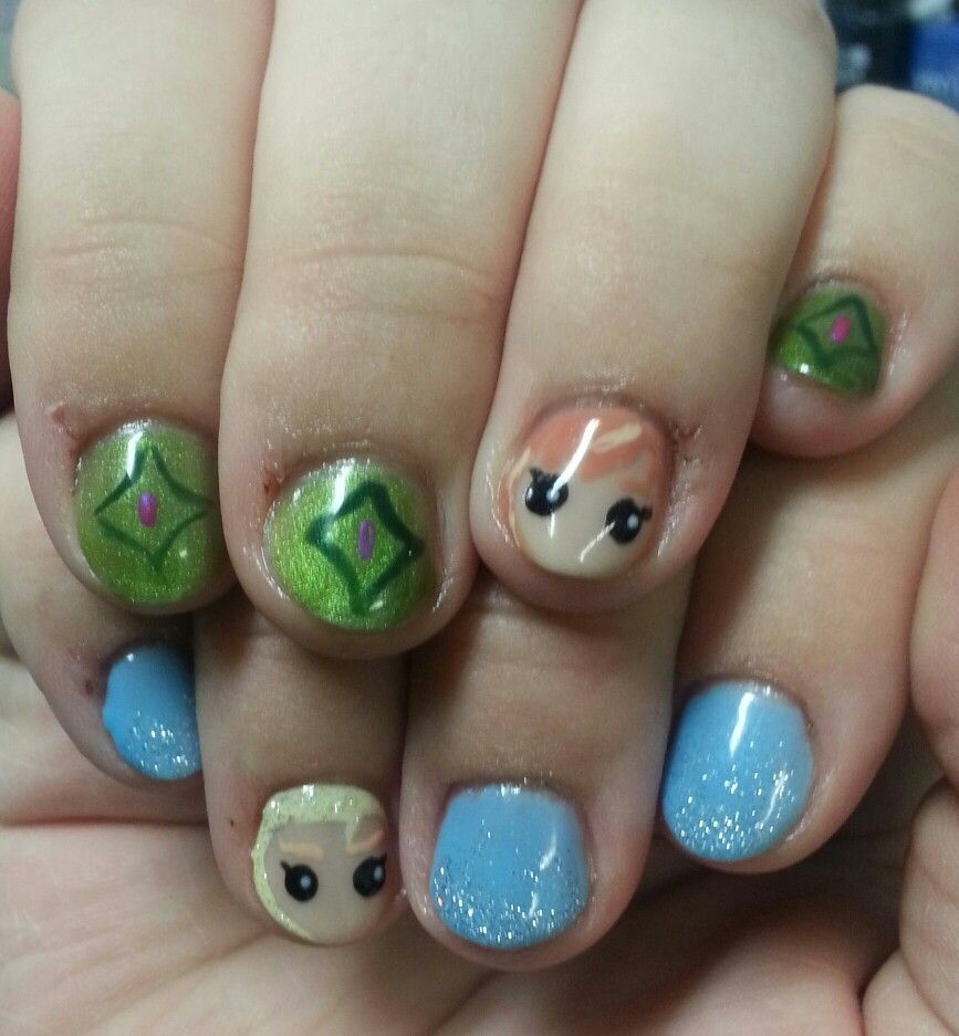 Disney\'s Frozen Anna and Elsa nails | Jessica\'s Salon & Spa ...