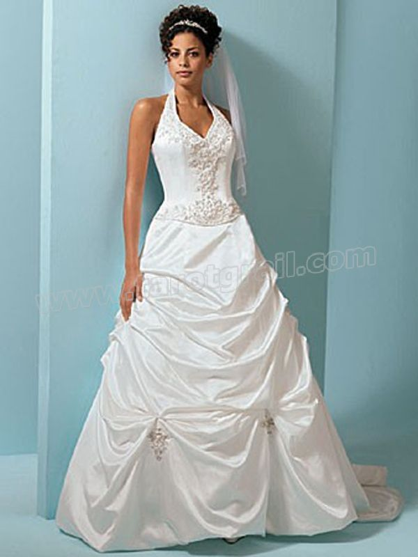 Halter Neckline with Beading Decorated Pick-Up Design Wedding Dress ...