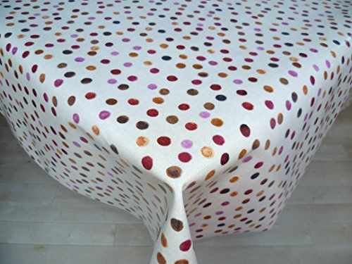 Oilcloth Plastic Coated Tablecloth Cranberry Spotted Multi Design