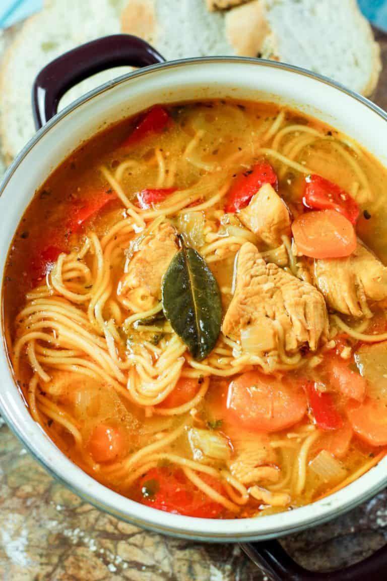 Sopa de fideo is the famous Puerto Rican chicken noodle soup that is super flavorful! #souprecipes #sopadefideo #PuertoRicancuisine