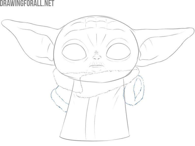 How To Draw Baby Yoda The Child Baby Child Draw Yoda Baby Drawing Yoda Drawing Drawings