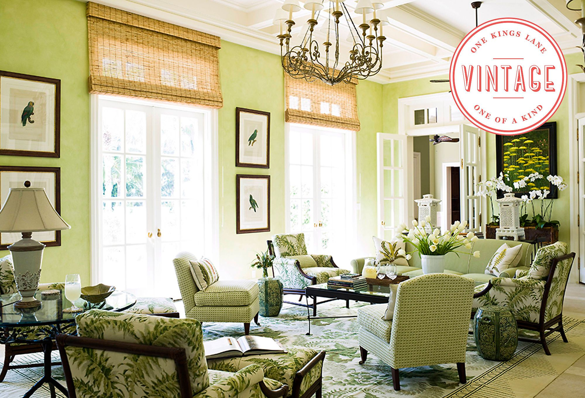 Vintage Decor Southern Country Club Chic Tropical Living Room Living Room Green Living Room Colors