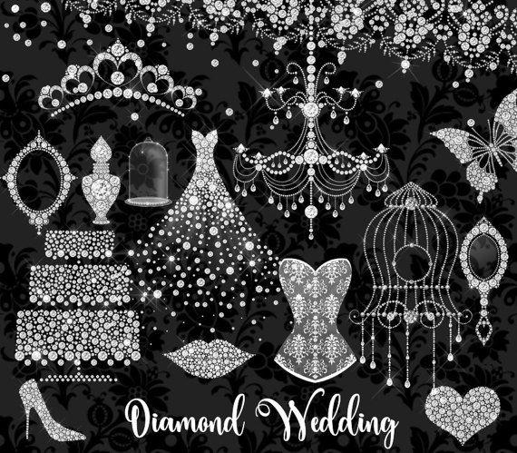 White Diamond Wedding Clipart, glamouröse ClipArt mit Strass-Glitzer, Grafiken für die Brautdusche, Hochzeitskleid, Tiara, digitaler Diamantrahmen