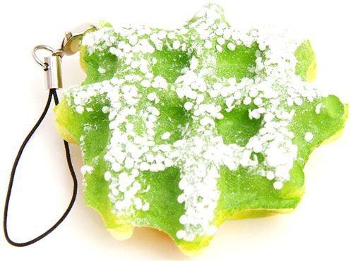 green waffle squishy charm with icing sugar