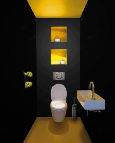 Un wc noir et jaune déco pétillante Toilet, Powder room and Washroom - Comment Decorer Ses Toilettes