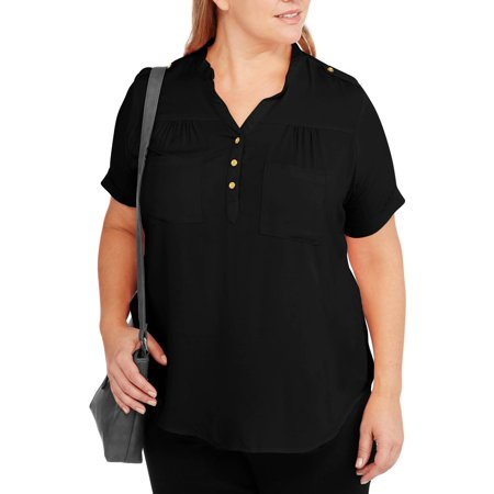 51a97f9434c574 Millennium Women's Plus-Size Short Sleeve Essential Tunic Top with Pockets,  Black