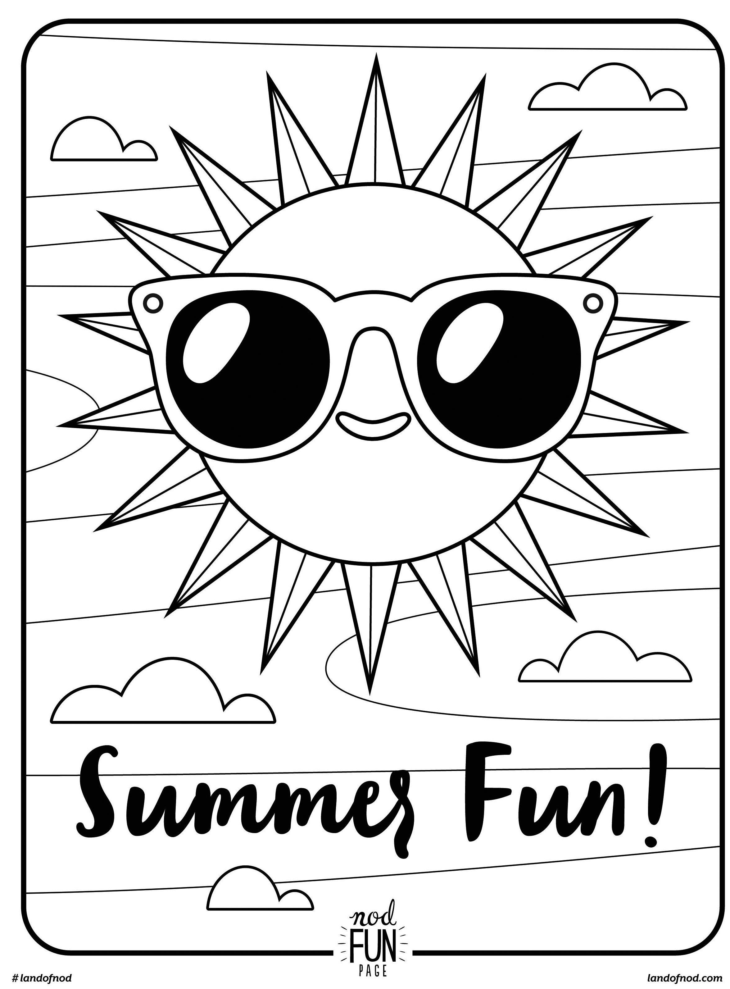 free printable coloring page summer fun - Coloring Pages Kitty Summer