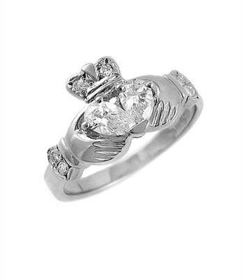 Irish Wedding Rings 14k White Gold Claddagh with Two Diamond