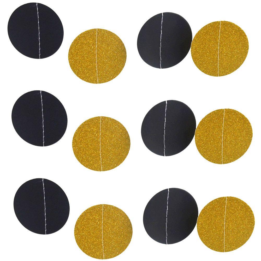 Pas Cher 2 M Tres Or Noir Glitter Papier Guirlande Cercle B B De