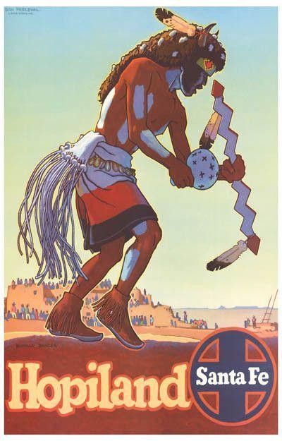 Arizona Santa Fe Fridge magnet Vintage Travel Poster