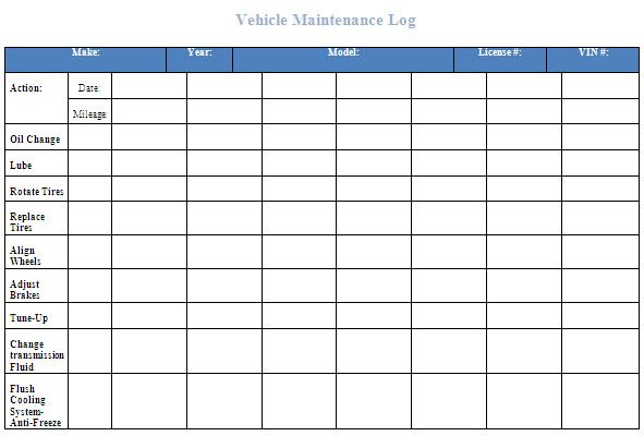 vehicle maintenance log template excel