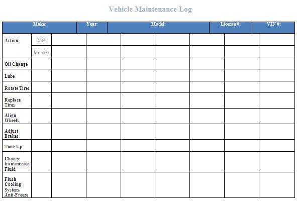 Vehicle Maintenance Log Template Excel | Car Maintenance Tips ...