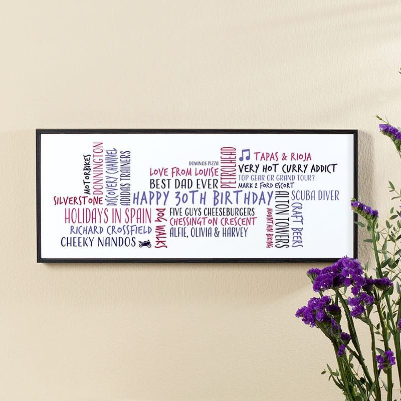 30th birthday gift for men word cloud personalised picture