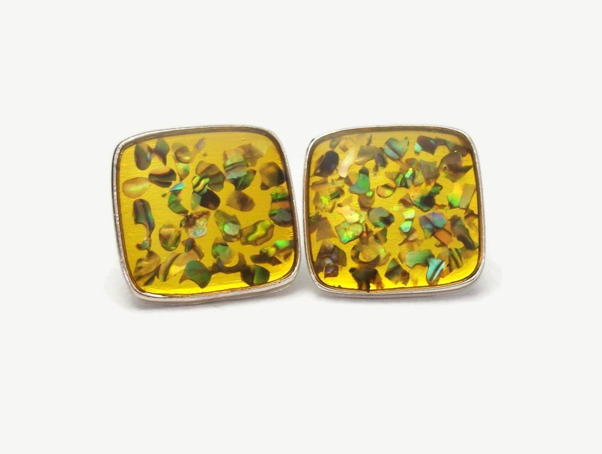 Vintage Confetti Lucite Clip on Earrings Golden Yellow with Abalone Shell Confetti Square Silver Tone Settings Mid Century Jewelry