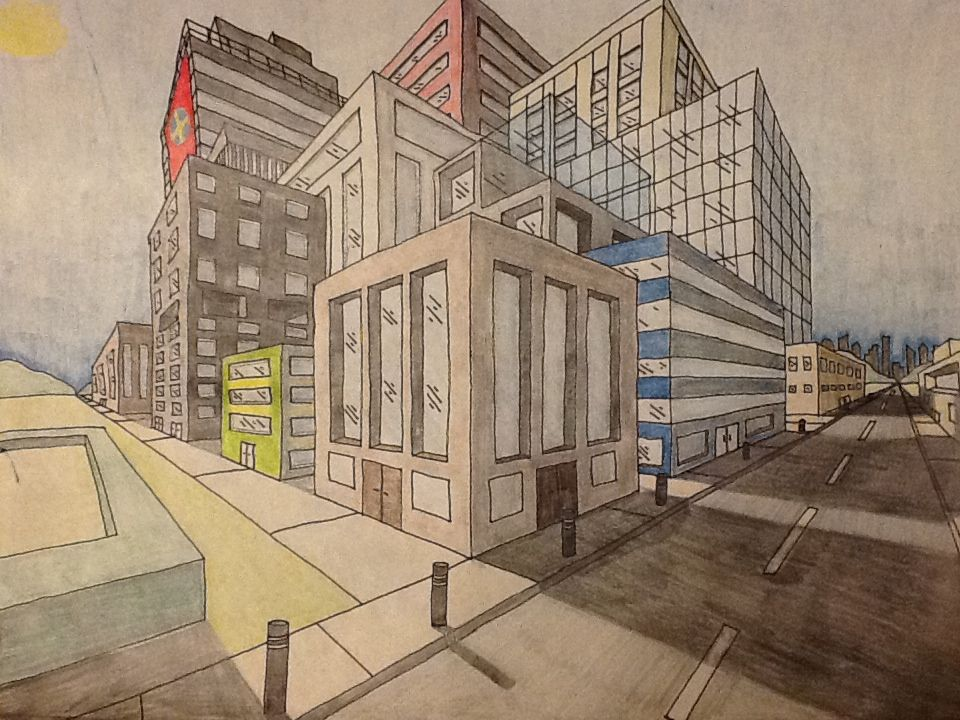 2 point perspective city drawing with colour good example kids