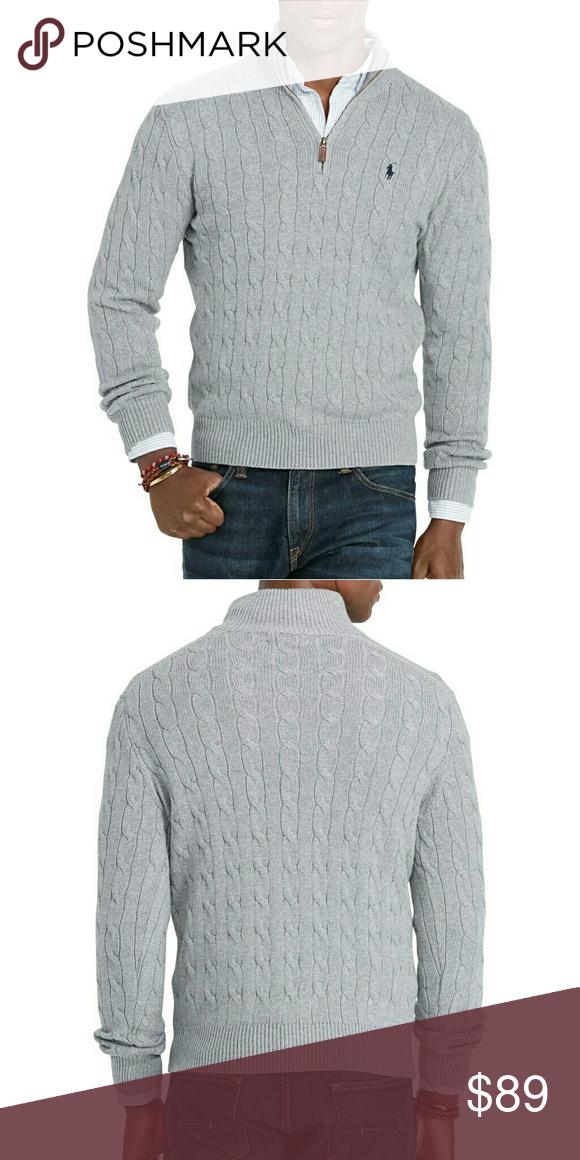 🎉HP🎉Ralph Lauren Men's Cotton Sweater Cable-knit NWT | Half zip ...
