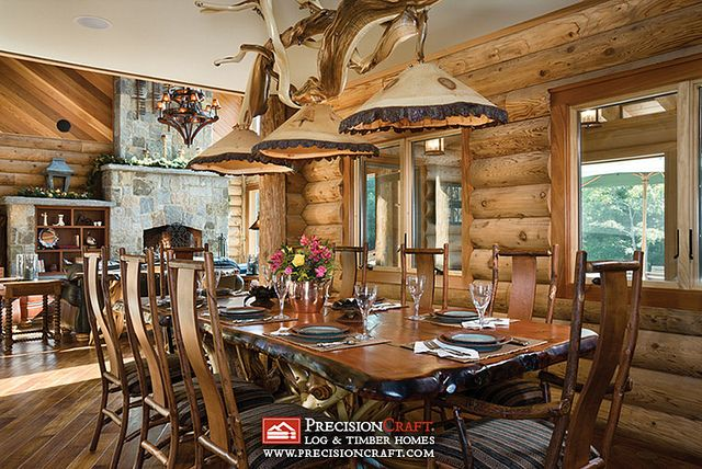 Milled Log Home Dining Room | Logs, Milling and Room