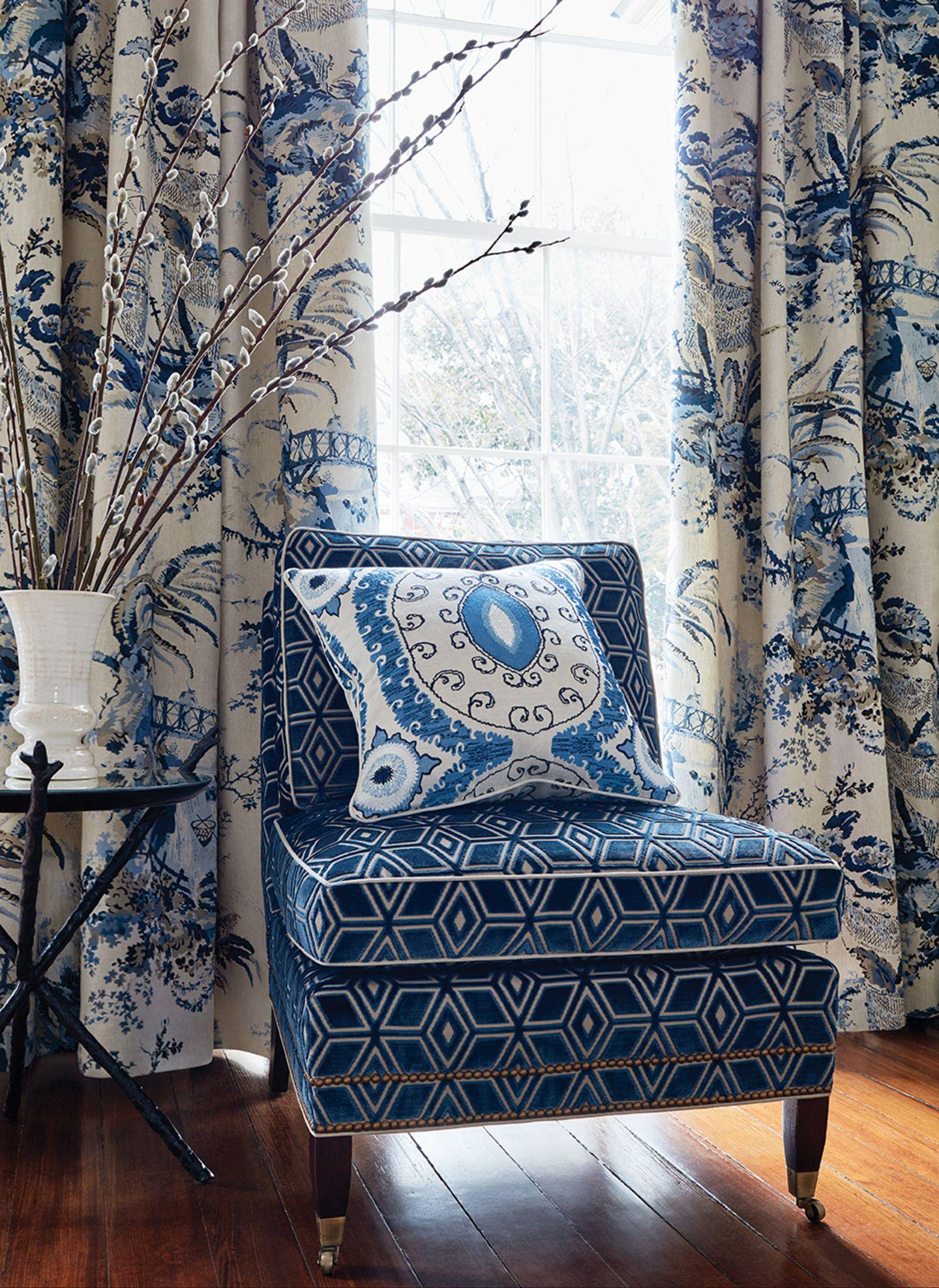 Anna French / Thibaut Chair, Blue decor, Trending decor