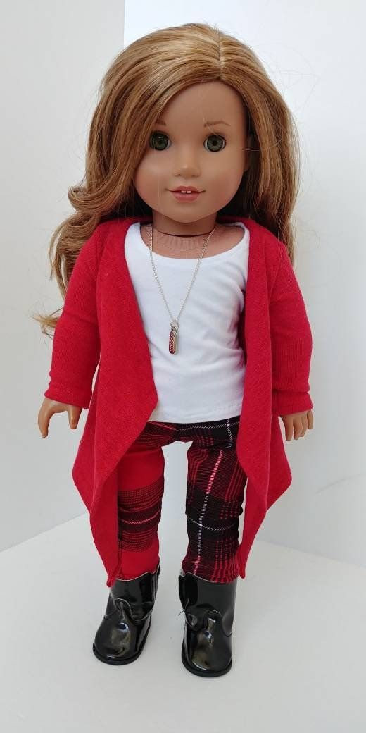 18 inch doll clothes. Fits like American girl doll clothing. 18 inch doll clothes. 3 piece set Cardigan, tank and legs #girldollclothes