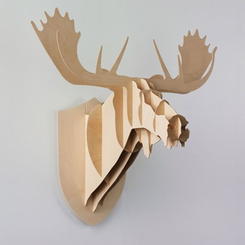 Moose Head Large Mounted Wooden Hunting Trophy By Big