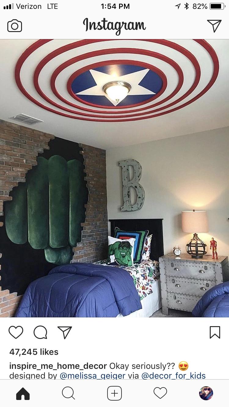 Superhero Room Design: Captain America #boysbedroomdesigns