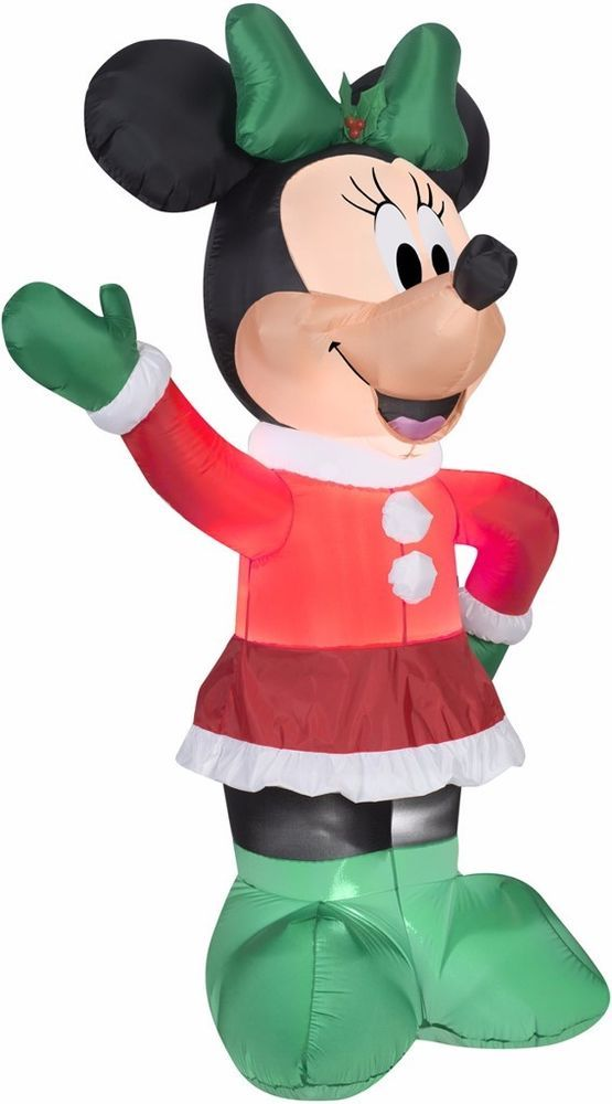Holiday Minnie Indoor/ Outdoor Inflatable Outdoor christmas and - disney christmas yard decorations