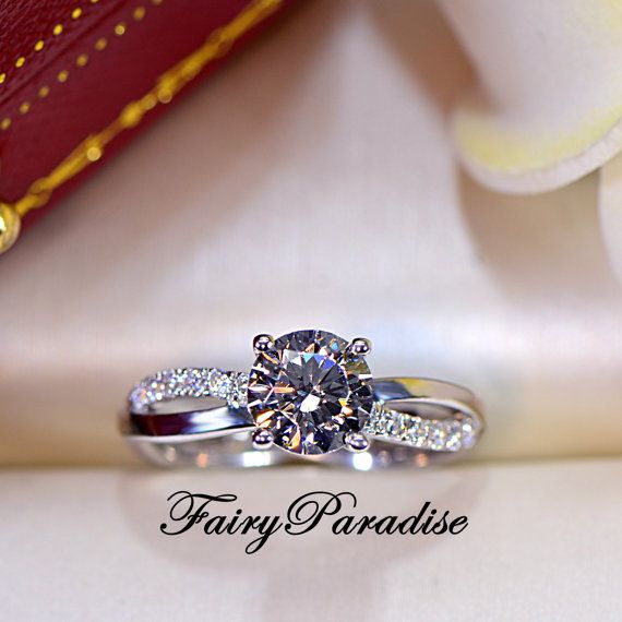 1 Ct Twisted Infinity Promise Ring Engagement Ring Man Made