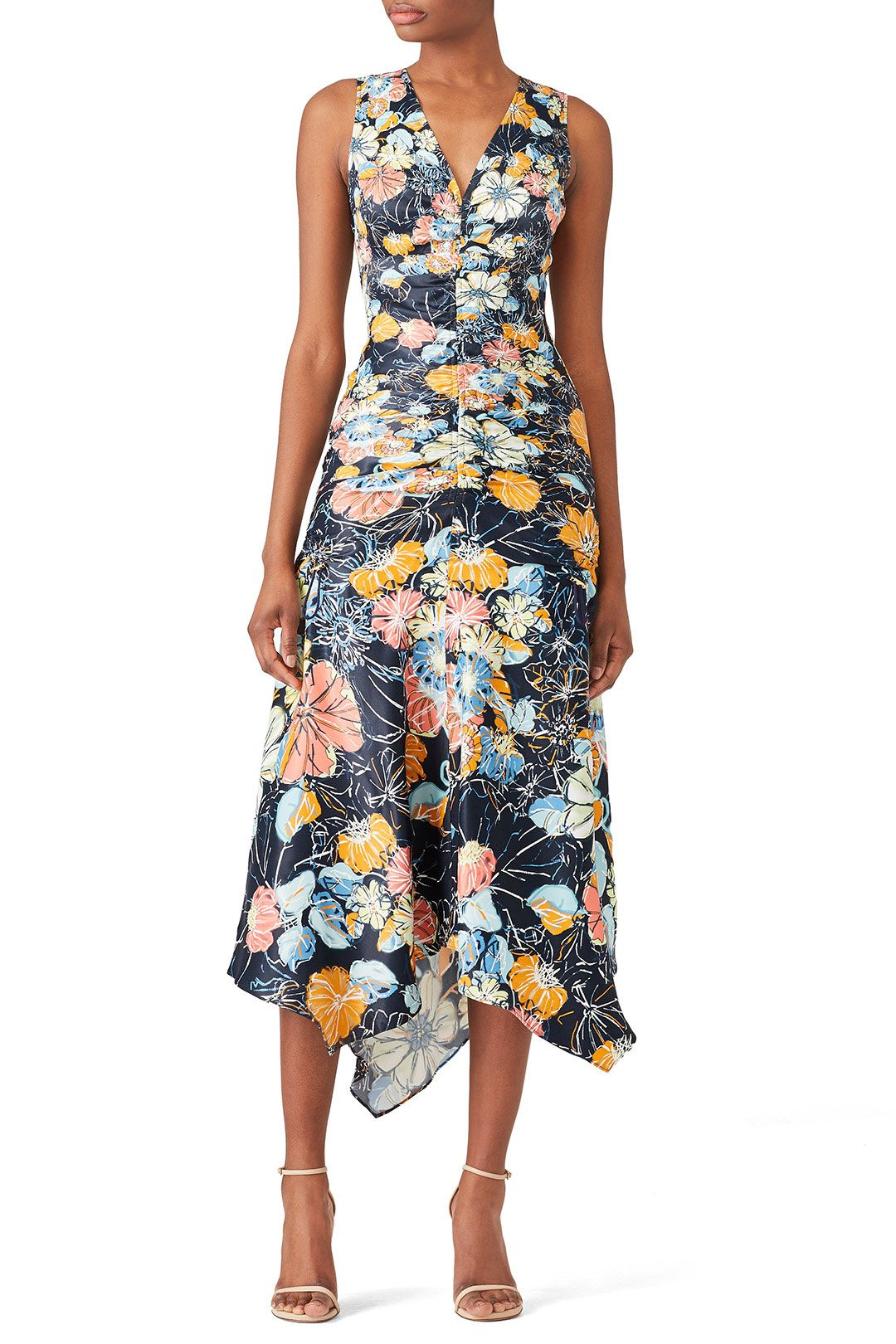 Peter Pilotto Ruched Navy Floral Dress Navy Floral Dress Dresses Floral Dress