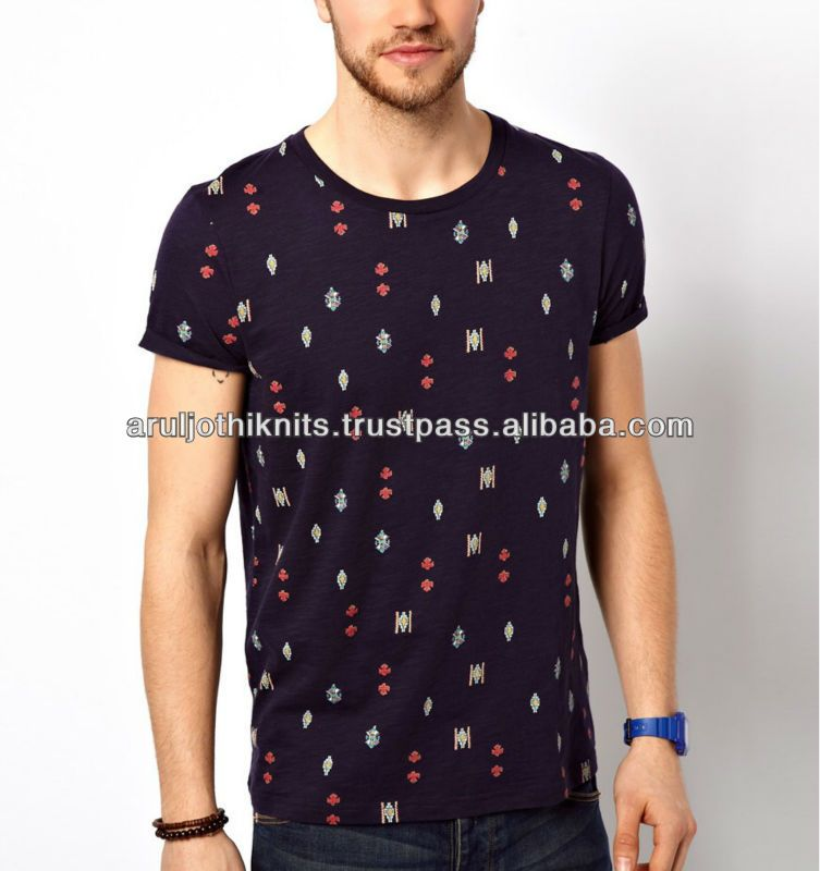 Mens Allover Printed T Shirts With Pocket - Buy Full Print T Shirt ...