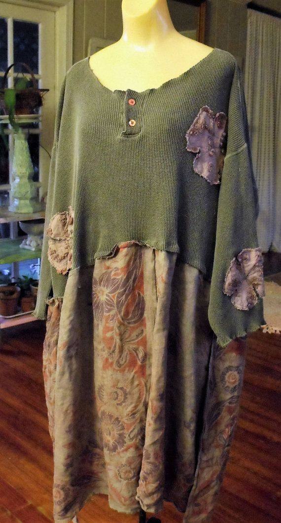 Plus Size Upcycled Embellished Dress/Tie Dyed Linen by SheerFab