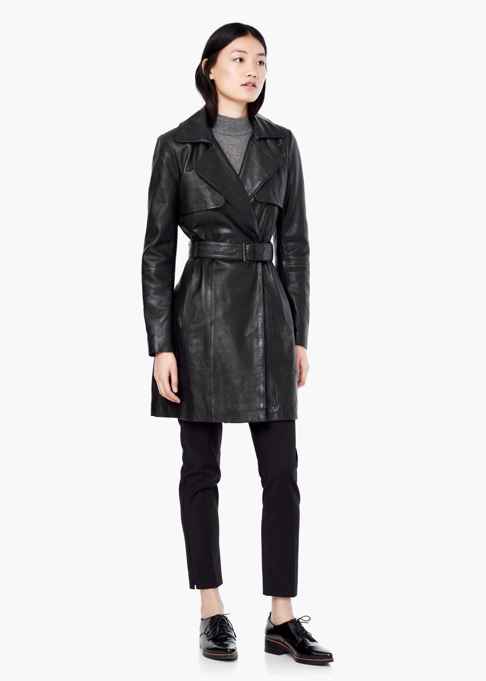 5df8d45f36525 Trench cuir - Femme. Manteau roma - Trenchs et manteaux pour Femme   MANGO