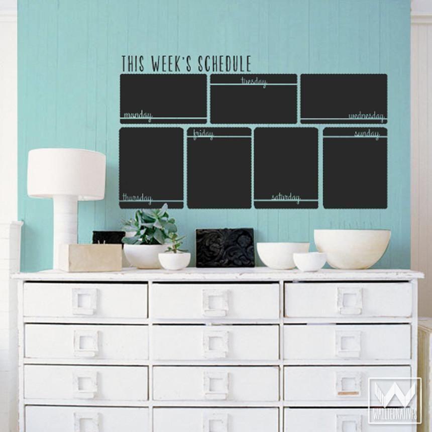 Horizontal Week Schedule Chalkboard Vinyl Wall Decal Kreidetafelwand Vinyl Wandsticker Wandtattoos
