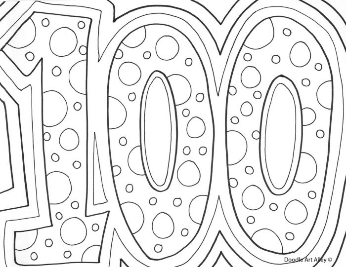 100th day of school classroom doodles 100 days of school coloring pages a3e - Day School Coloring Page