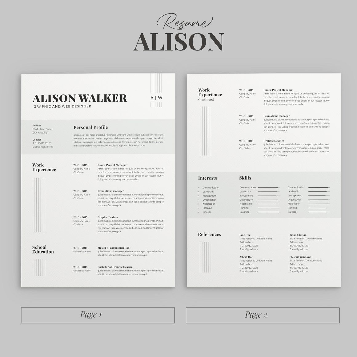 Modern Resume Template. A CV Resume for your job