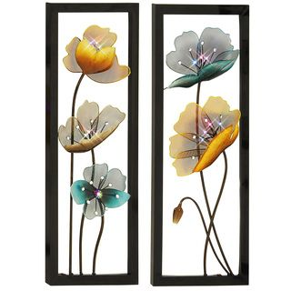 Vertical Metal Wall Art Glamorous Blossom Hand Crafted Led Lights Metal Wall Art Decor Set Of 2 2017