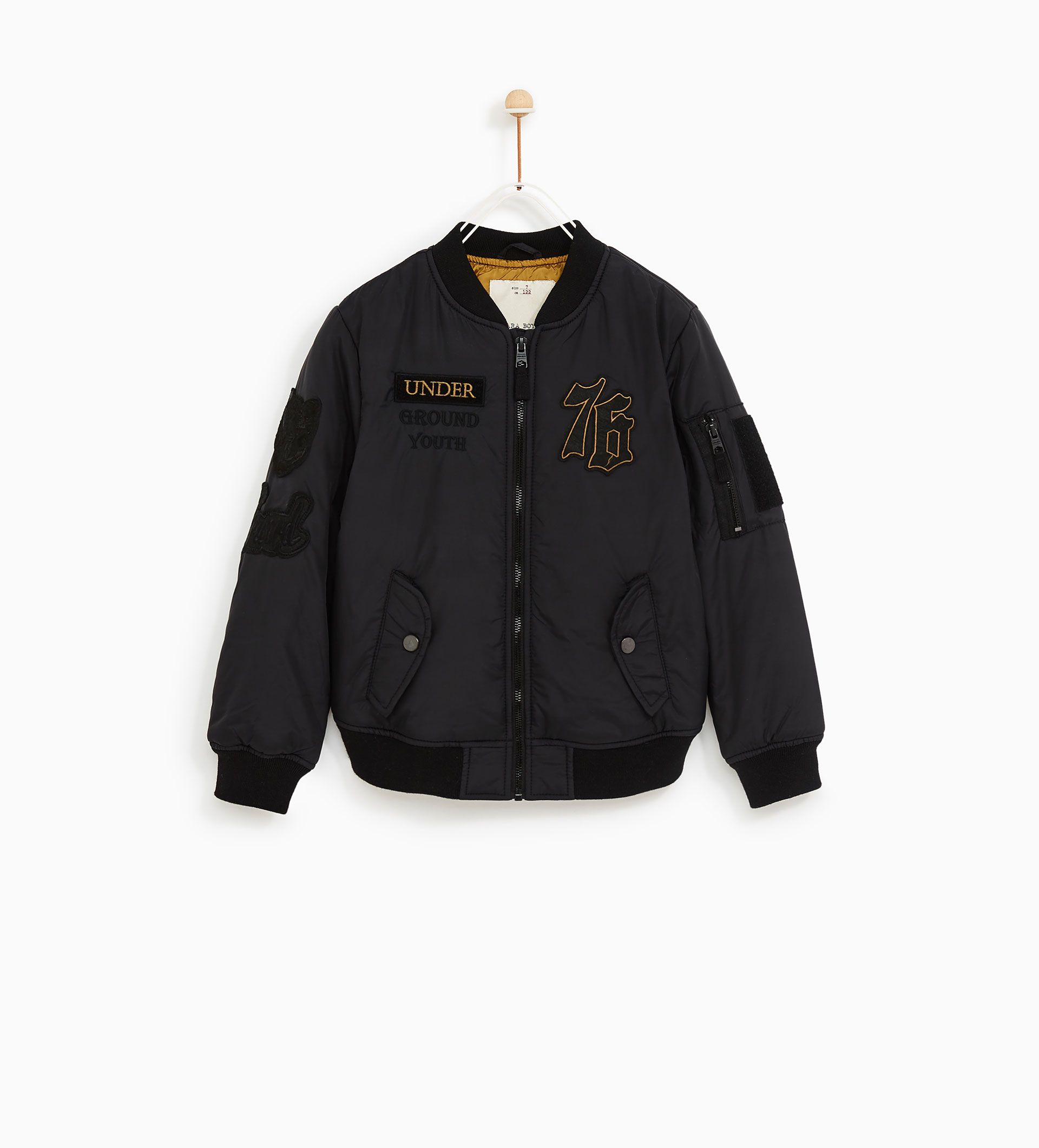 MILITARY BOMBER JACKET WITH PATCHES