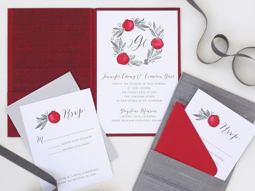 Modern Chinese wedding invitations featuring hand drawn pomegranates ...