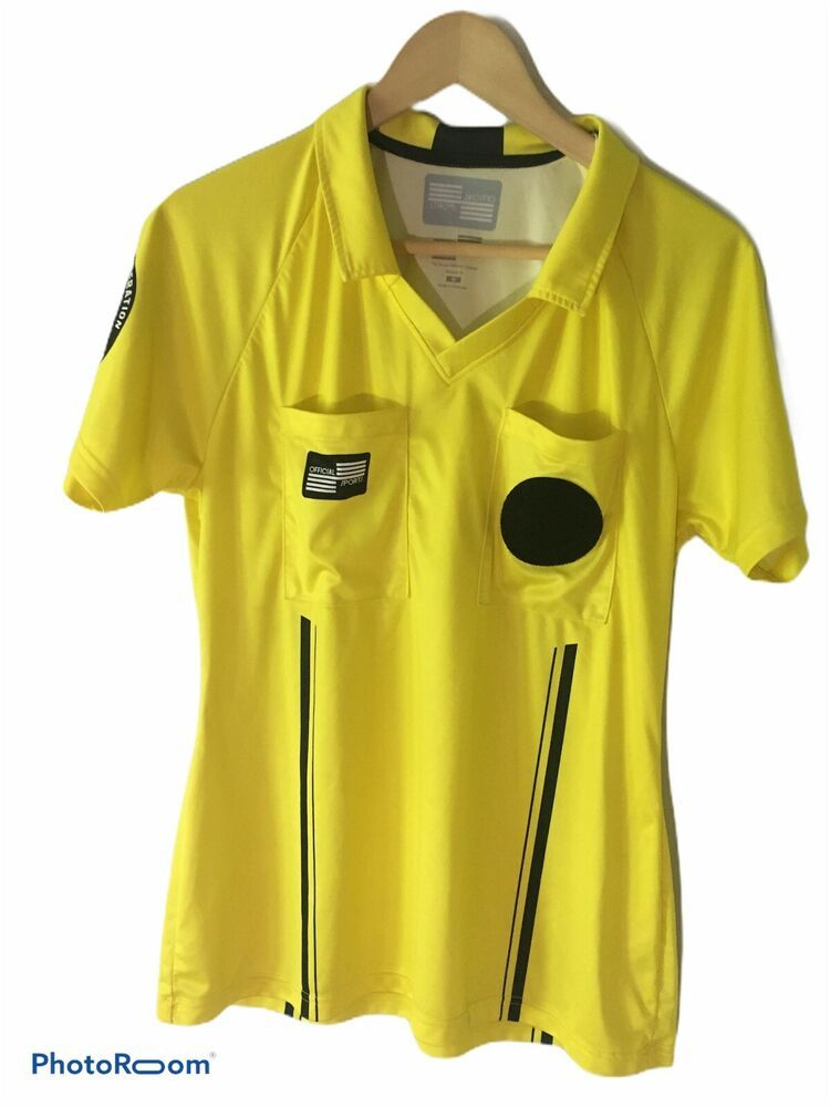Official Sports Men S Pro Soccer Referee Jersey Polo Yellow Size Medium M Officialsports Jerseys In 2020 Soccer Referee Sports Jersey