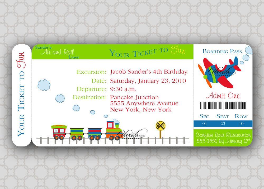 Train Birthday Invitation   Boarding Pass Birthday Invite ...